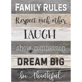 Plaque murale de 17 po x 24 po, Family Rules thumb