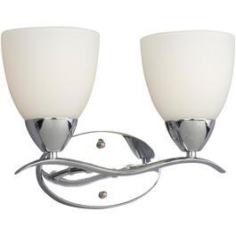 Luminaire De Salle Bains A 2 Lampes Avec Abat Jour En Verre Blanc