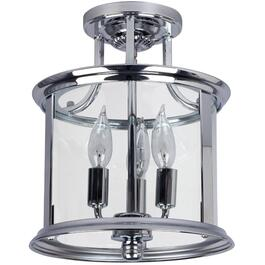 Plafonnier semi-affleurant de 3 lampes de la collection Bel-Air avec verre transparent, chrome thumb