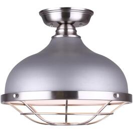 Plafonnier affleurant à 1 lampe de la collection Gunnar, nickel brossé et gris thumb