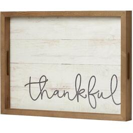 Plateau de service en bois de 19,75 po x 14,75 po, avec inscription Thankful thumb