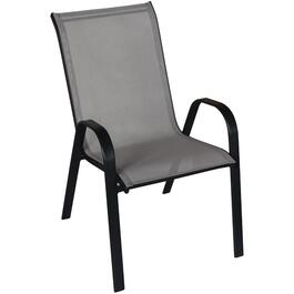 Chaise de table à manger empilable en tissu tendu, gris/noir thumb