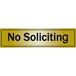 Affiche autocollant en métal de 2 po x 8 po, No Soliciting thumb