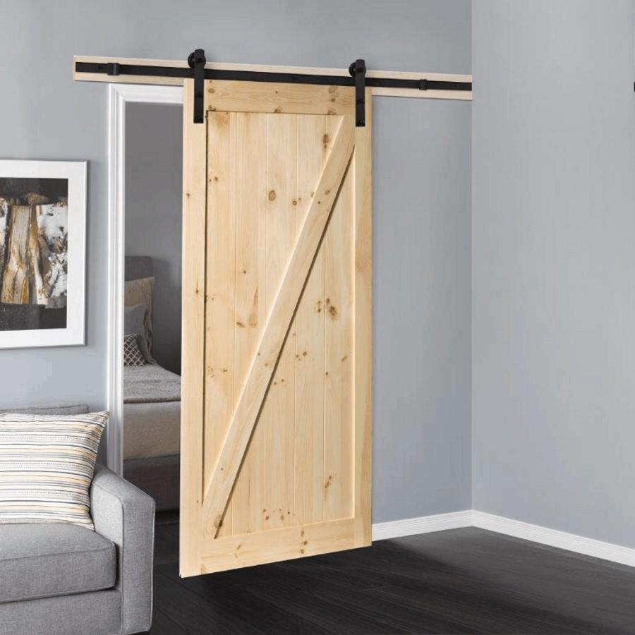 Porte Grange Coulissante Bois porte coulissante de 36 po x 84 po de style grange en pin non fini avec  cadre en forme de z, avec quincaillerie