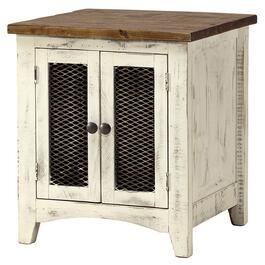 Square White Pueblo End Table thumb