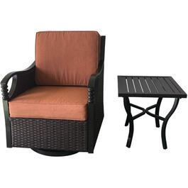 Regal Wicker Swivel Rocker Club Chair, with Table thumb