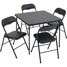 5 Piece Black Folding Chairs and Table Set thumb