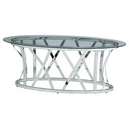 Glass/Chrome Metal Oval Coffee Table, with X Base thumb