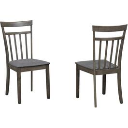 2 Pack Grey Wood Side Chairs, with Upholstered Linen Seat thumb