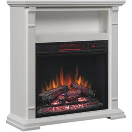 White Electric Fireplace with Open Storage Space thumb