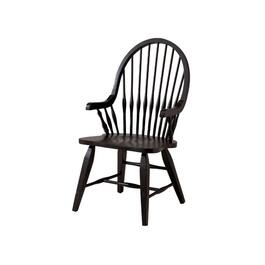 Black Bow Back Wood Arm Chair thumb