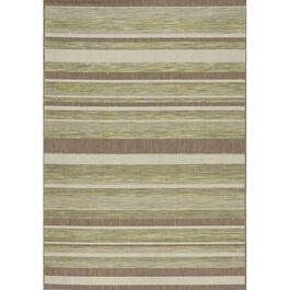 6' x 8' Trellis Green/Brown/Beige Strips Flatweave Area Rug thumb