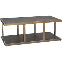 Walnut Finish Metal/Wood Rectangular Cocktail Table thumb