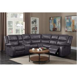 3 Piece Polished Grey Klaus Power Motion Sofa Sectional thumb