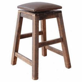 "30"" Multi-Coloured Swivel Stool, with Brown Leather Seat thumb"