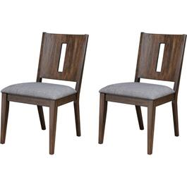 2 Pack Khols Wood Side Chairs, with Upholstered Grey Seat thumb