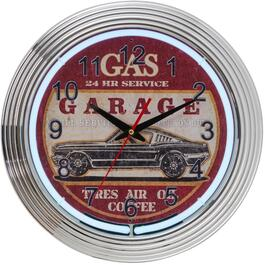 "15"" Chrome Neon Garage Wall Clock thumb"