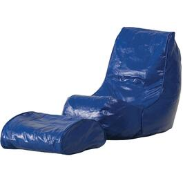Blue Vinyl Beanbag Chair, with Footrest thumb
