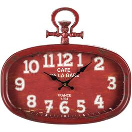 "18"" x 16"" Red Sophie Metal Wall Clock thumb"