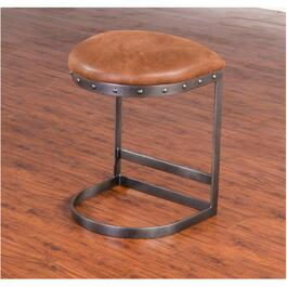 "2 Pack 24"" Tahoe Metal Bar Stool, with Brown Microfibre Seat thumb"