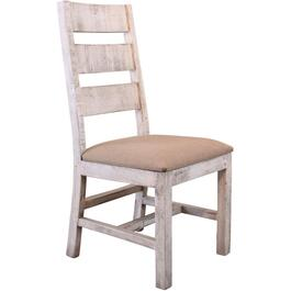 White Terra Wood Side Chair, with Upholstered Seat thumb