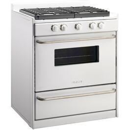 "30"" White Off Grid Propane Range, with Window thumb"