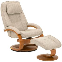 Linen Teatro Oslo Swivel Recliner, with Ottoman thumb