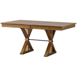 Pecan Ancaster Rectangular Pedestal Dining Table, with leaf thumb