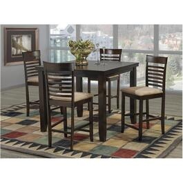 5 Piece Espresso Counter Height Square Dinette Set thumb