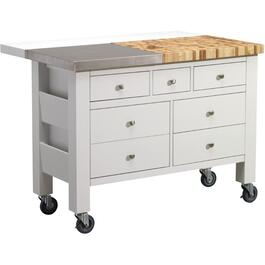 White Kitchen Island, with Casters thumb