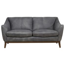 Grey Luna Leather Loveseat thumb