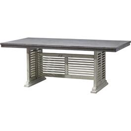 White Base and Grey Top Stone Rectangular Dining Table thumb