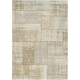 6' x 8' Cathedral Cream/Grey Distressed Patchwork Area Rug thumb