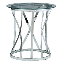 Glass/Chrome Metal Round End Table, with X base thumb