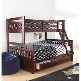 Springsdale Espresso Wood Twin Over Double Bunk Bed thumb