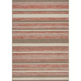 8' x 11' Trellis Red/Brown/Beige Strips Flatweave Area Rug thumb