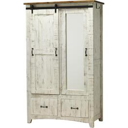 2 Door White Pueblo Armoire, with Mirror and hanging rod thumb
