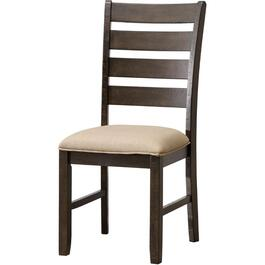 Grey Stevensville Wood Side Chair, with Upholstered Seat thumb
