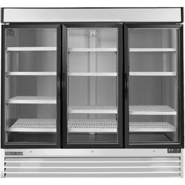 72 cu. ft. Stainless Steel/Clear 3 Door Commercial Grade Fridge thumb