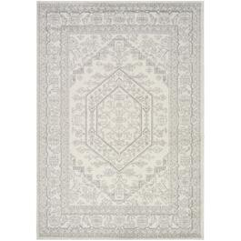 6' x 8' Focus White/Grey Traditional Bordered Area Rug thumb