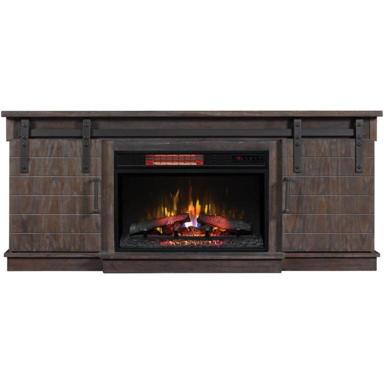 Antique Coffee Finish Electric Fireplacetv Stand With Barn Style