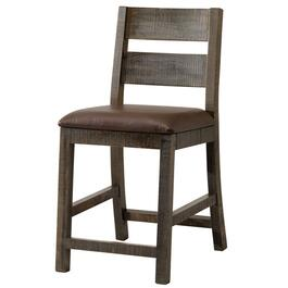 "24"" Multicolour Finish Wood Bar Stool, with Brown Leather Seat thumb"