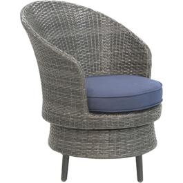 Wicker Swivel Club Chair, with Cushion thumb