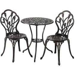 3 Piece Black Buckingham Cast Aluminum Bistro Set thumb