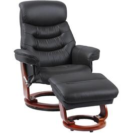 Black Leather Match Happy Recliner, with Ottoman thumb