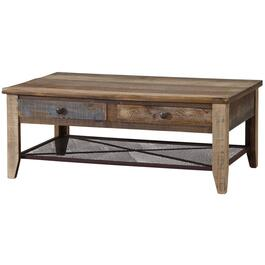 Rustic Rectangular Cocktail Table, with 4 Drawers thumb