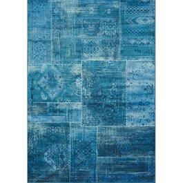 6' x 8' Antika Teal Patchwork Area Rug thumb