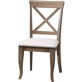 Grey X-Back Wood Side Chair, with Sunbrella Upholstered Seat thumb