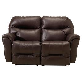 Brown Leather Match Recliner Loveseat, with Console thumb