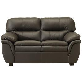 Brown Leather Match Loveseat thumb